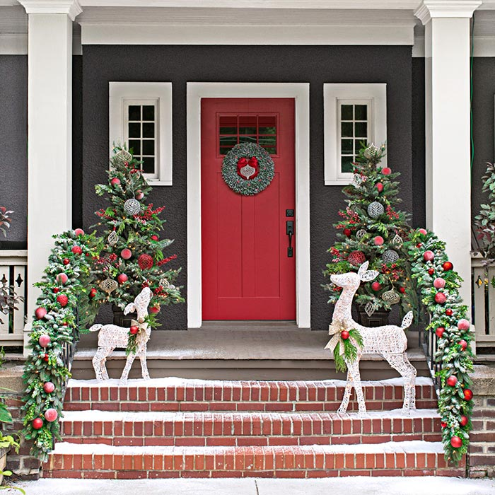 Place Holly Or Poinsettias In Silver Decorative Buckets To Achieve A  Monochromatic Melody Of Winter! Xmas Door Porch