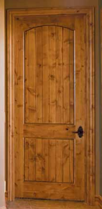 Knotty Alder 2 Panel Arch Top Door with V-Grooves
